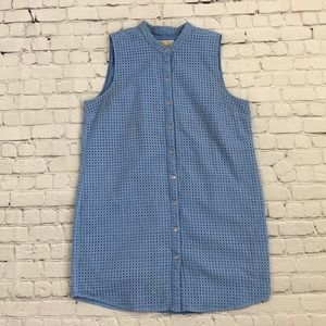 Michael Kors Blue Eyelet Button Front Tunic
